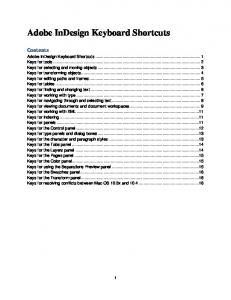 Adobe InDesign Keyboard Shortcuts Contents