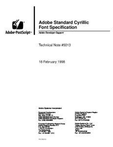Adobe Standard Cyrillic Font Specification