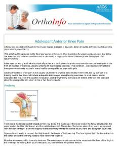 Adolescent Anterior Knee Pain