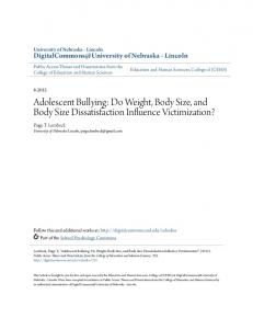 Adolescent Bullying: Do Weight, Body Size, and Body Size Dissatisfaction Influence Victimization?