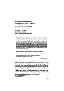 Adolescent Masculinity, Homophobia, and Violence
