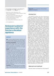 Adolescent patients' experience with the Carriere distalizer appliance