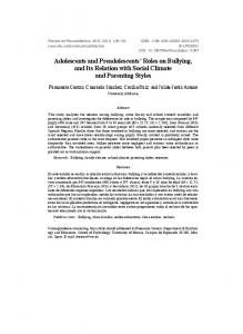 Adolescents and Preadolescents Roles on Bullying, and Its Relation with Social Climate and Parenting Styles