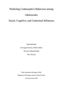 Adolescents: Social, Cognitive, and Contextual Influences