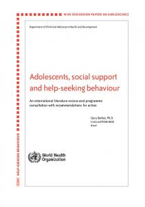 Adolescents, social support and help-seeking behaviour