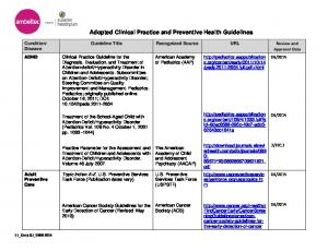 Adopted Clinical Practice and Preventive Health Guidelines