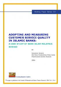ADOPTING AND MEASURING CUSTOMER SERVICE QUALITY IN ISLAMIC BANKS: