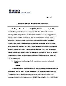 Adoption Reform Amendment Act of 2009