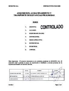 ADQUISICION, ALMACENAMIENTO Y TRANSPORTE DE SUSTANCIAS PELIGROSAS