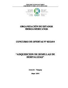 ADQUISICION DE SEMILLAS DE HORTALIZAS