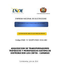 ADQUISICION DE TRANSFORMADORES TRIFASICOS Y MONOFASICOS SISTEMA DE DISTRIBUCION LOS CINTIS - CAMARGO