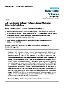 Adrenal Steroids Uniquely Influence Sexual Motivation Behavior in Male Rats