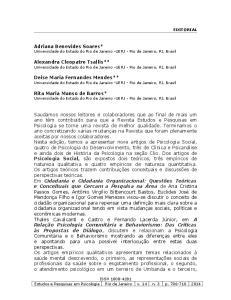 Adriana Benevides Soares* Universidade do Estado do Rio de Janeiro -UERJ - Rio de Janeiro, RJ, Brasil