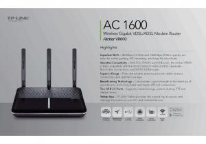 ADSL Modem Router. Highlights