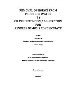 ADSORPTION FOR REVERSE OSMOSIS CONCENTRATE