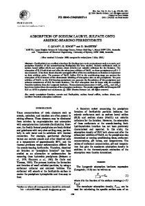ADSORPTION OF SODIUM LAURYL SULFATE ONTO ARSENIC-BEARING FERRIHYDRITE