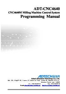 ADT-CNC4640 CNC4640M Milling Machine Control System Programming Manual