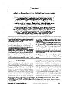 Adult Asthma Consensus Guidelines Update 2003