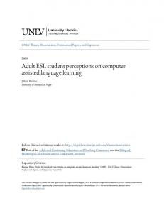 Adult ESL student perceptions on computer assisted language learning