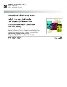 Adult Learning in Canada: A Comparative Perspective