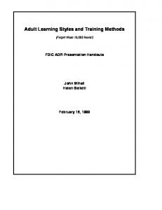 Adult Learning Styles and Training Methods