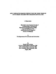 ADULT MEDIATED READING INSTRUCTION FOR THIRD THROUGH FIFTH GRADE CHILDREN WITH READING DIFFICULTIES. A Dissertation