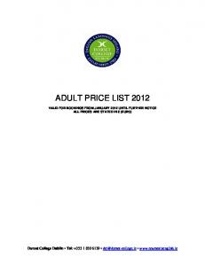 ADULT PRICE LIST 2012