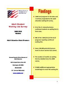 Adult Student Waiting List Survey NCSDAE. Adult Education State Directors