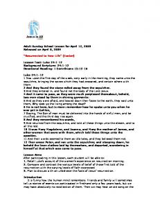 Adult Sunday School Lesson for April 12, 2009 Released on April 8,
