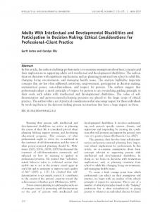 Adults With Intellectual and Developmental Disabilities and Participation in Decision Making: Ethical Considerations for Professional Client Practice