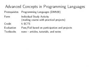 Advanced Concepts in Programming Languages
