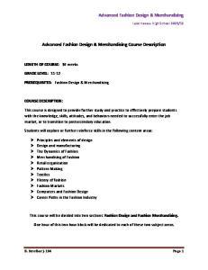 Advanced Fashion Design & Merchandising Course Description