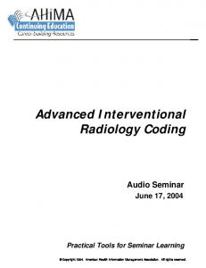 Advanced Interventional Radiology Coding