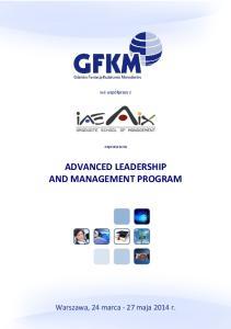 ADVANCED LEADERSHIP AND MANAGEMENT PROGRAM