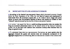 Advanced Macroeconomics  12. MONETARY POLICY AND AGGREGATE DEMAND
