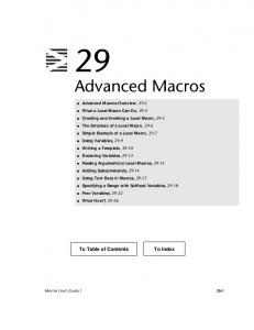 Advanced Macros. MINITAB User s Guide