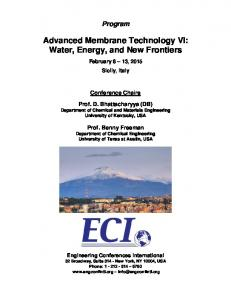 Advanced Membrane Technology VI: Water, Energy, and New Frontiers
