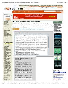 Advanced Meta-Tags Generator - SEO Tools - Search Engine Optimization, Google Optimization