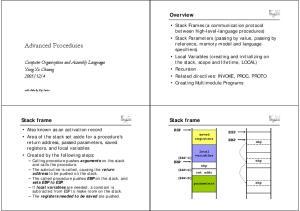 Advanced Procedures. Overview. Stack frame. Stack frame