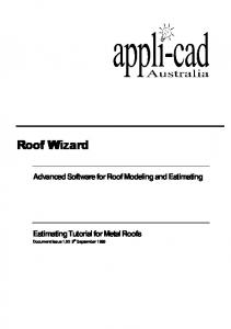 Advanced Software for Roof Modeling and Estimating. Estimating Tutorial for Metal Roofs