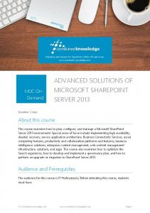ADVANCED SOLUTIONS OF MICROSOFT SHAREPOINT SERVER 2013