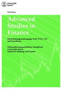 Advanced Studies in Finance