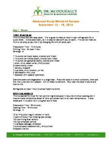 Advanced Study Weekend Recipes September 16-18, 2016