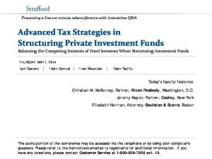 Advanced Tax Strategies in Structuring Private Investment Funds