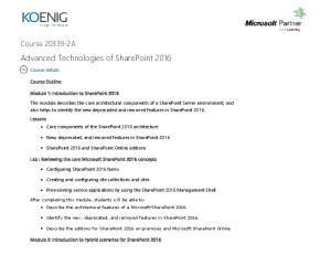 Advanced Technologies of SharePoint 2016