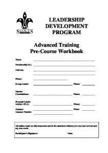 Advanced Training Pre-Course Workbook
