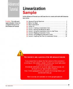 Advanced Tutorial. Linearization. Sample. This tutorial is only a preview of the full advanced tutorial