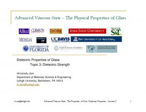 Advanced Vitreous State The Physical Properties of Glass