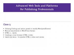 Advanced Web Tools and Platforms For Publishing Professionals