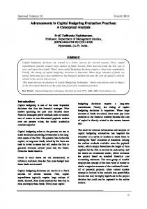 Advancements in Capital Budgeting Evaluation Practices: A Conceptual Analysis. Abstract: